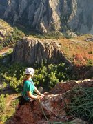 Rock Climbing Photo: Janie admiring the view from the top of the route,...