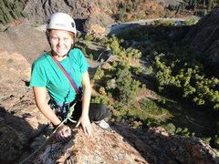 Rock Climbing Photo: Janie on top of the Leisure Route, fall 2012.