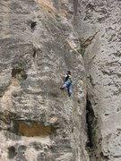 Rock Climbing Photo: Czech climber, making her way up the lower half of...