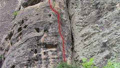 Rock Climbing Photo: Follow the red line!