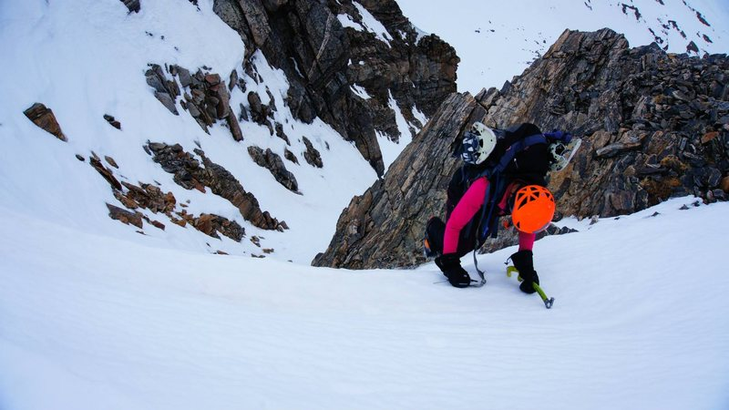 Me at the top of the cornice on James Peak - unknown couloir