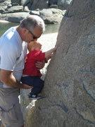 Rock Climbing Photo: Grandpa and Son: Lesson 1; the Dyno