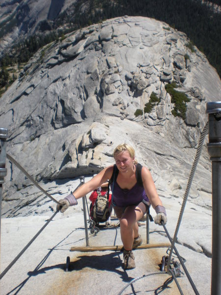 The Wife rocking Half Dome, the trendy route.
