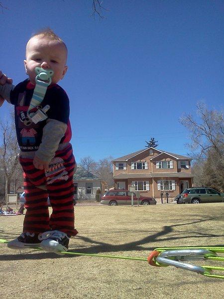 Son on his 1st Slackline