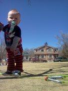 Rock Climbing Photo: Son on his 1st Slackline