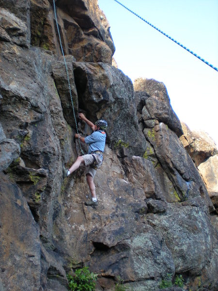Rock Climbing Photo: Father in law, working his way up  ______ at Emigr...