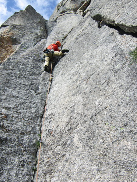 Andy leading P2 of Cary Granite.<br> <br> Photo: Brent Butler.