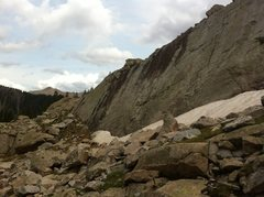 Rock Climbing Photo: Middle Moon Slab. Had no rope and no shoes, so a p...