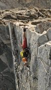 Rock Climbing Photo: The famed knife edge double toe hook! (Warning: Ob...