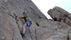 Rock Climbing Photo: Climber making the opening moves on Cluck Cracks.