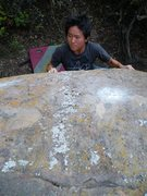 Rock Climbing Photo: Darice eyeing the pitifully small holds on V.M.