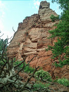 Rock Climbing Photo: Looking up at the Seven Castes Area from the appro...