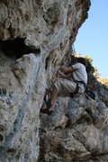 Rock Climbing Photo: Starts on the left and straight to the right in th...