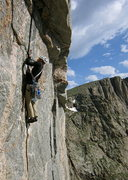Rock Climbing Photo: Brent Butler moving into the thin hand crack on P3...