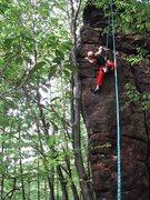 "Rock Climbing Photo: Higher on ""Tomahawk"", Tomahawk Boulder"