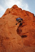 Rock Climbing Photo: Daniel Armstrong Leading Red Twin Spire, GOG, Colo...