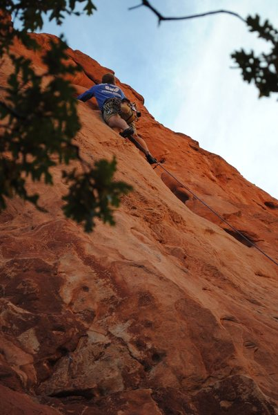 Armstrong on Lead, Kristin Parks on Photography. Red Twin Spire, GOG, Colorado Springs.