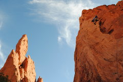 Rock Climbing Photo: Armstrong Leading Red Twin Spire, GOG, Colorado Sp...