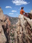 Rock Climbing Photo: John Riggs, sitting atop the Summit of Grey Rock v...