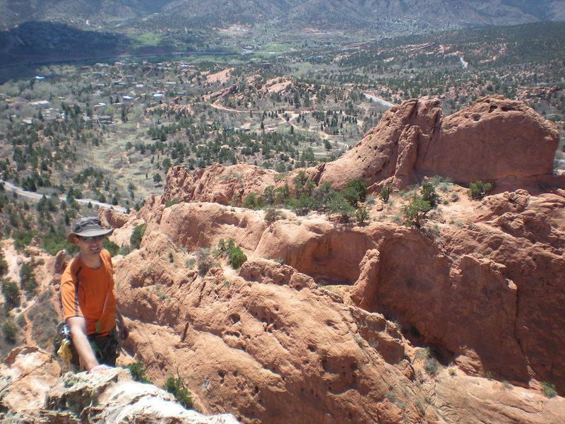 Rock Climbing Photo: John Riggs ready for the downclimb of Grey Rock.
