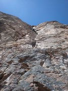 Rock Climbing Photo: John Leading the second pitch (linked) on New Era,...