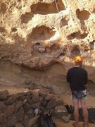 Rock Climbing Photo: Nick on Belay, 5 Gallon Buckets, Smith Rock, OR.