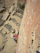Rock Climbing Photo: Belaying Richard atop pitch 1 on Zebra Zion, Smith...