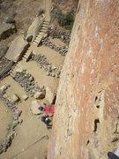 Rock Climbing Photo: Belaying Richard atop pitch 1 on Zebra Zion, Smith...