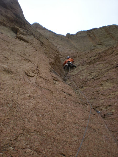 Pitch 3, before the Traverse linkup of Zebra Zion, Smith Rock, OR.