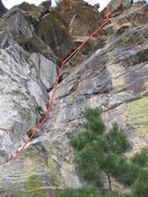 Rock Climbing Photo: The route showing with the toprope set from the sa...