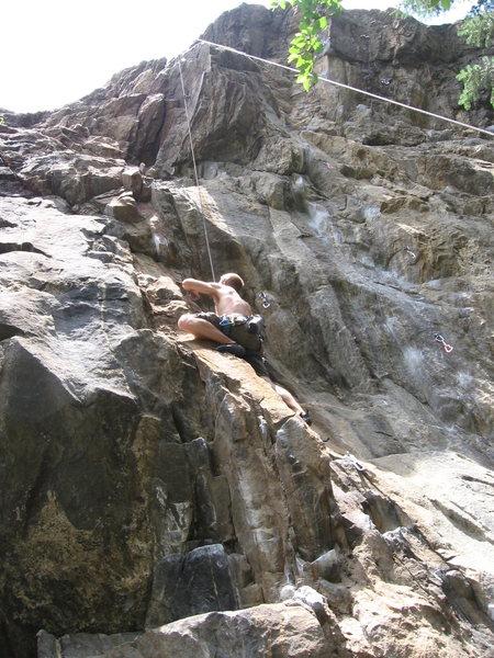 Rock Climbing Photo: Mark almost half way up Killer Pillar.