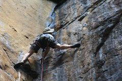 Rock Climbing Photo: Fixed #2 Camalot can be seen just above. It is in ...