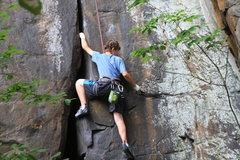 Rock Climbing Photo: 14yr old Matt fist jamming the start.
