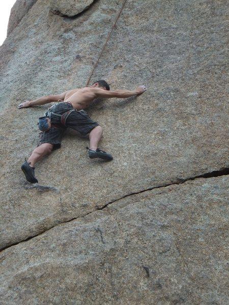 Rock Climbing Photo: Chris working through the thin stuff.