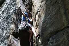Rock Climbing Photo: Jamming the perfect crack on Autumn Fire