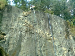 Rock Climbing Photo: Several lines are possible across the wall.  Laps ...