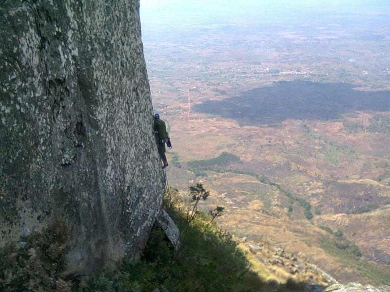 Mike on the opening moves of the head of the sphinx, Zomba PLateau