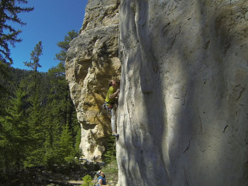 Rock Climbing Photo: A climber obeying Sensei's orders on I Fight Dirty...