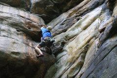 Rock Climbing Photo: Pumping the hangs on Four Sheets