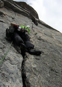 Rock Climbing Photo: A good look at pitch two's splitter crack. The Tro...