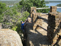 Rock Climbing Photo: Topping out at the scenic overlook.  Lake Mineral ...