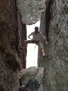 Rock Climbing Photo: Julie B stemming between the two chockstones at th...