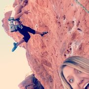 My bestie and I climbin at chuck