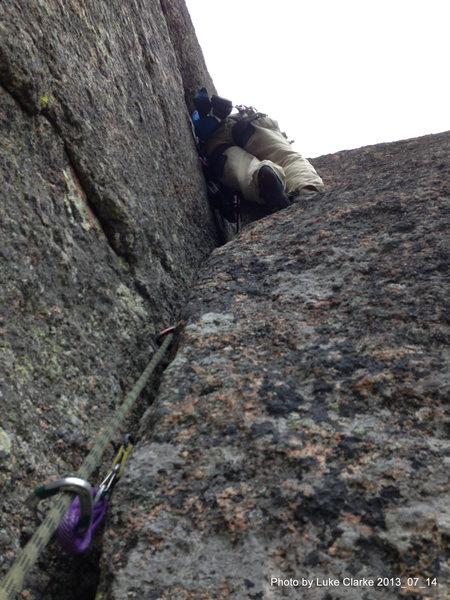 Rock Climbing Photo: Chuck Graves cops a rest midway through the stemmi...