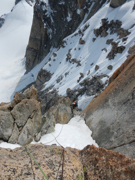 Rock Climbing Photo: The snow filled gully on the 10th pitch.