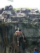 Rock Climbing Photo: On the good crimp and sloper