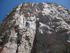 Rock Climbing Photo: Title Track 1st pitch. Working around the stacked ...