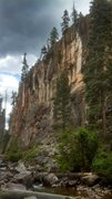 Rock Climbing Photo: The tall cliff on the east side of the creek.  Thi...