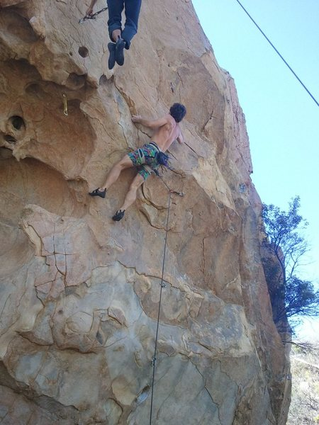 Sticking the second crux...Photo courtesy of Antonio Lobaro