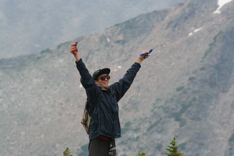 Hiked to Mt Alice, 16 miles round trip. No wind at treeline in The Park!?  Barnes catches the only gust of the day.